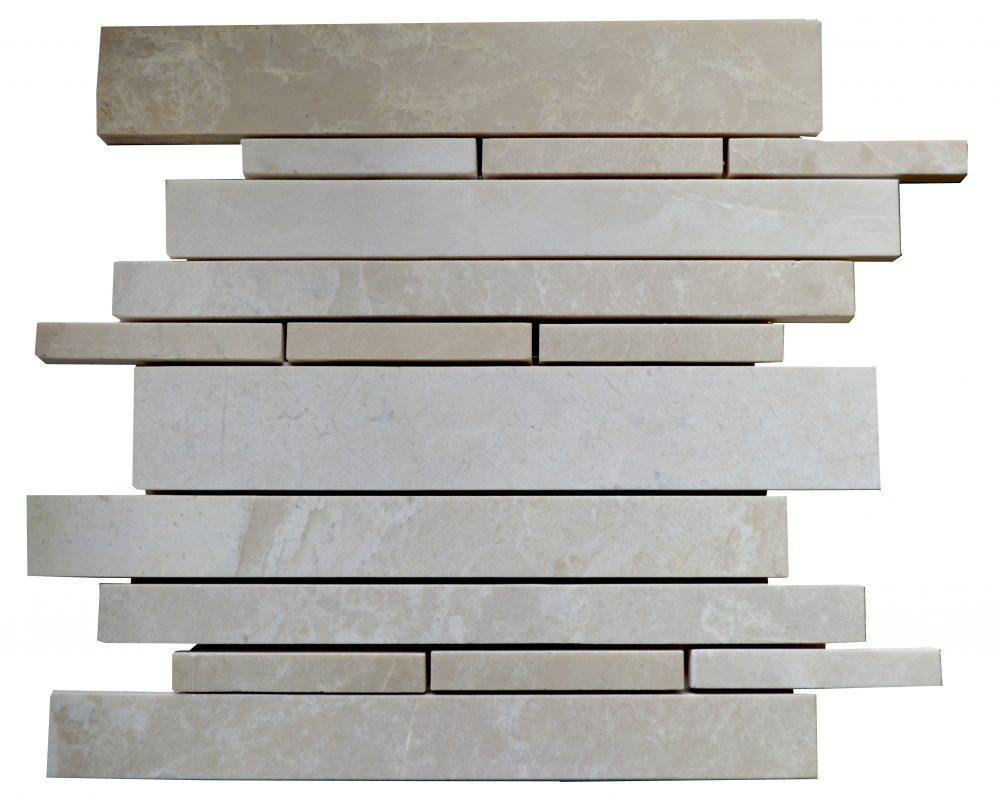 Botticino Polished Marble Linear Mosaic Tiles