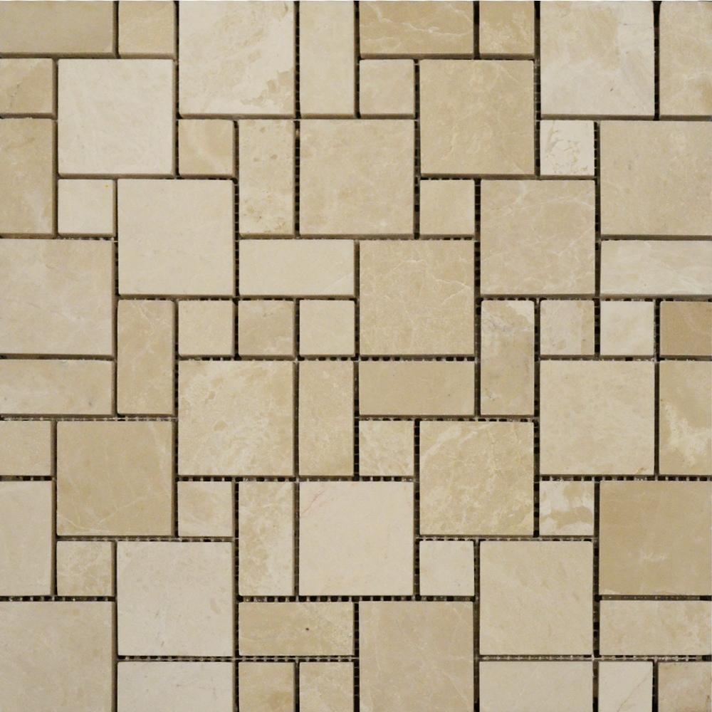 Botticino Polished Mini French Pattern Mosaic Tiles