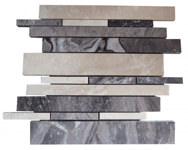 Botticino Silver Polished Marble Linear Mosaic Tiles
