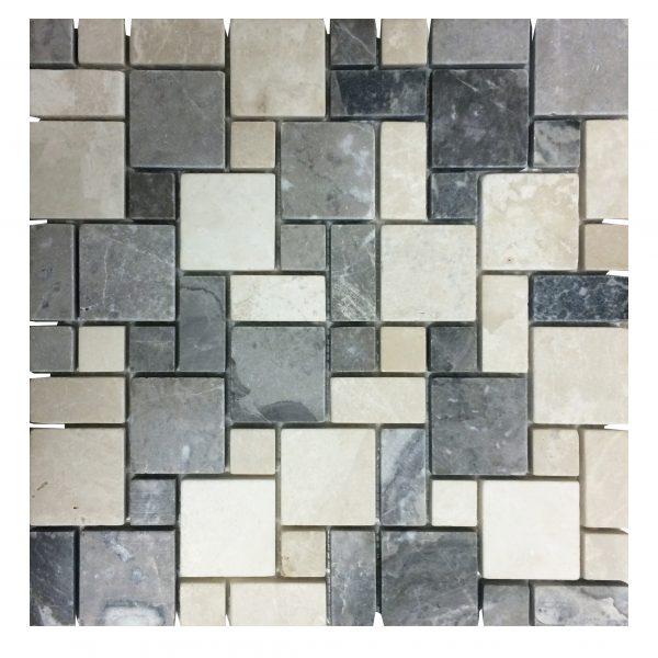 Botticino Silver Tumbled Mini French Pattern Mosaic Tiles