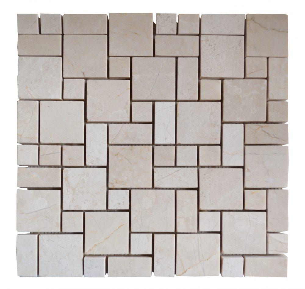 Crema Nouva Polished Mini French Pattern Mosaic Tiles