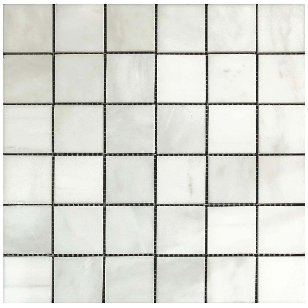 Everest White Polished Marble Mosaic Tiles 2×2