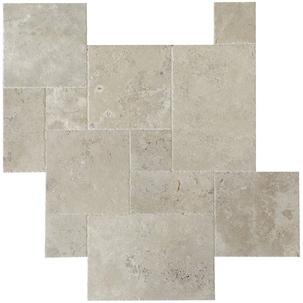 Ivory Classic Brushed Chiseled French Pattern Travertine Tiles