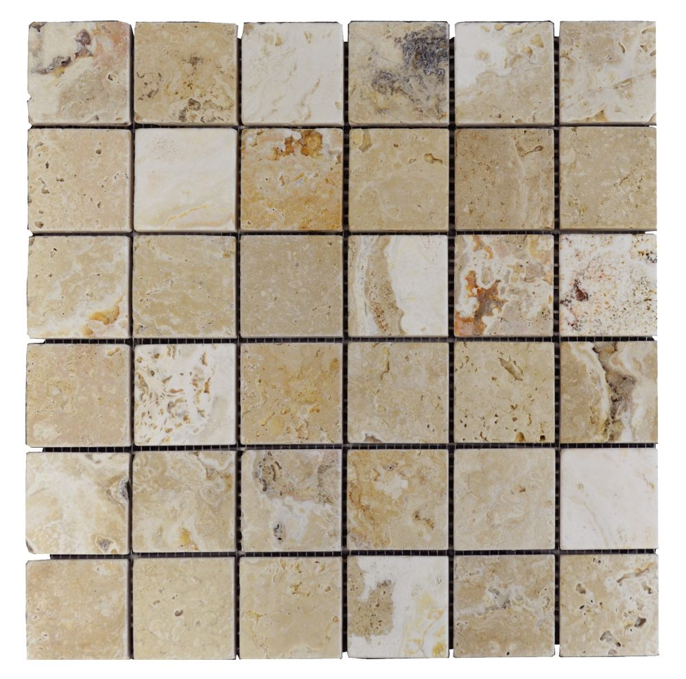 Leonardo Tumbled Travertine Mosaic Tiles 2x2