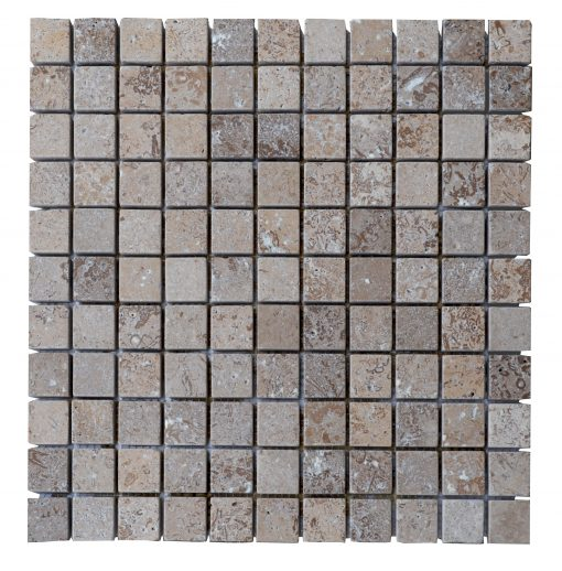 Noce Travertine Tumbled Mosaic Tiles 1x1