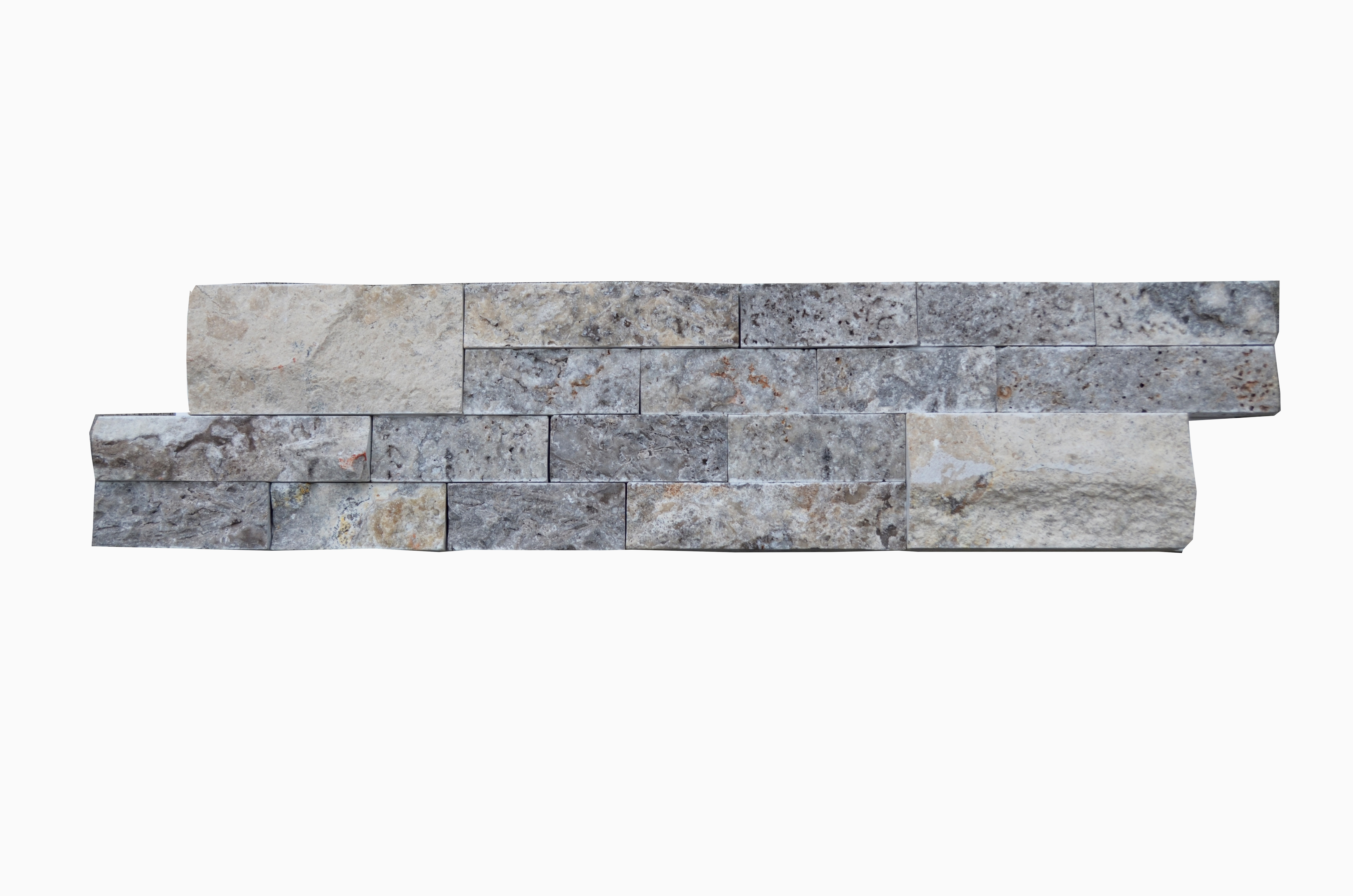 Silver Linear Split Face Marble Mosaic Tiles 6x24