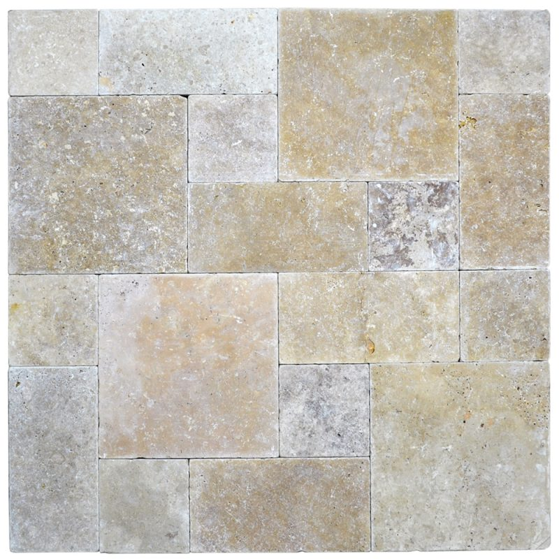 Tumbled Riverbed Walnut Beige 3: Walnut Roman Pattern Tumbled Pavers-Top Quality Pavers For