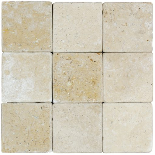 Walnut Tumbled Travertine Mosaic Tiles 4x4