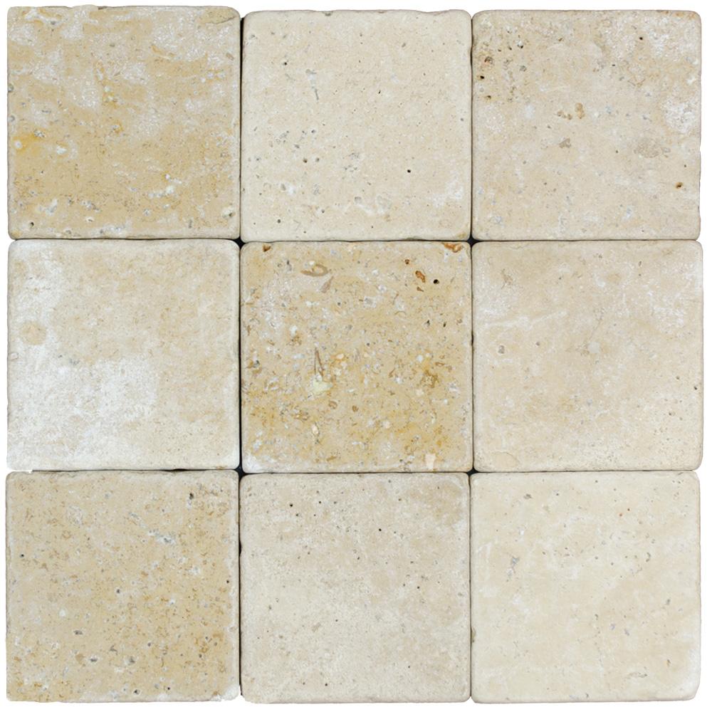Walnut Tumbled Travertine Mosaic Tiles 4x4