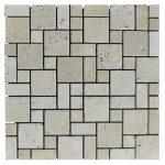 White Tumbled Mini French Pattern Mosaic Tiles