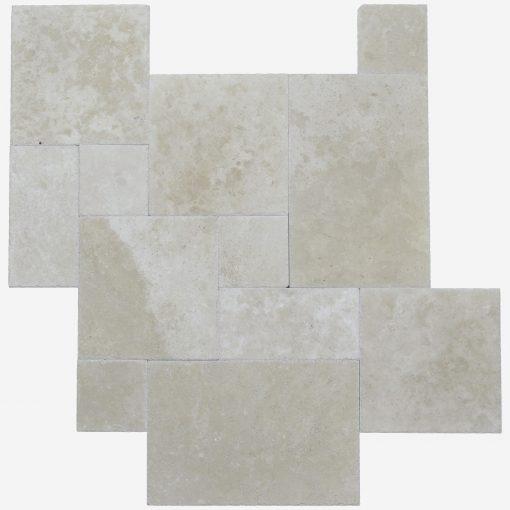 Ivory Brushed Chiseled French Pattern Travertine Tile