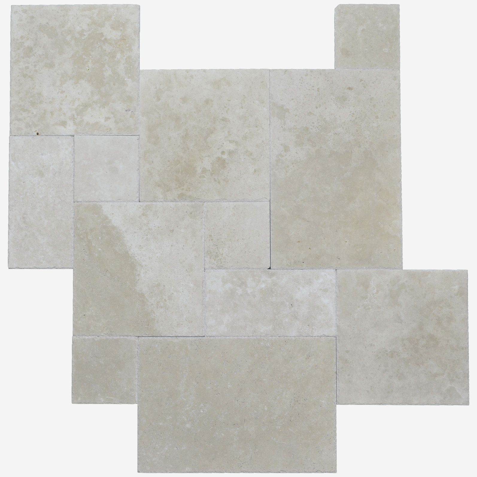 Ivory Brushed Chiseled French Pattern Travertine Tile